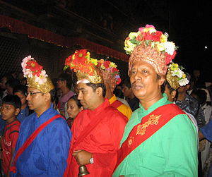 Vajracharya - Bajracharyas in ceremonial dress