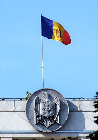 Government House, Chisinau - Image: Flag on the Government Building of Moldova Flickr Dave Proffer (5)