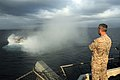Flickr - Official U.S. Navy Imagery - A Marine observes a landing craft air cushion exiting the well deck..jpg