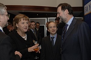 Mariano Rajoy - Rajoy with Chancellor of Germany Angela Merkel in March 2007