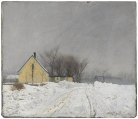 Foggy Winter Day. To the Left a Yellow House. Deep Snow