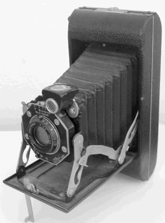 Folding camera - Typical folding camera in unfolded posture