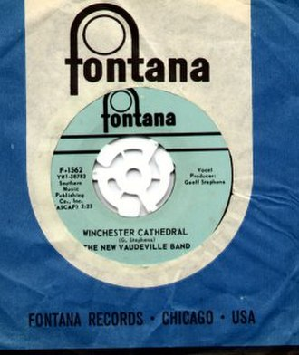 "Fontana Records - 1960s U.S. Fontana 45-rpm record of ""Winchester Cathedral"" by the New Vaudeville Band, one of four U.S. Fontana singles that topped the Billboard charts"