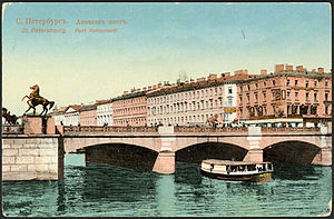 Anichkov Bridge - The Fontanka River at the Anichkov Bridge.