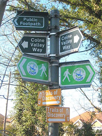Iver - Image: Footpath signs beside the River Colne at Iver Lane geograph.org.uk 1754526