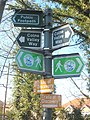 Footpath signs beside the River Colne at Iver Lane - geograph.org.uk - 1754526.jpg