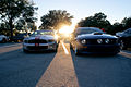 Ford Mustangs 2013 GT500 Convertible and 2005 GT Fronts Sunset SCSN 18Jan2014 (14582998201).jpg
