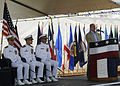 Former Secretary of the Navy Donald Winter, right, speaks during a change of command ceremony at Joint Base Pearl Harbor-Hickam, Hawaii, May 23, 2013 130523-N-ZK021-001.jpg