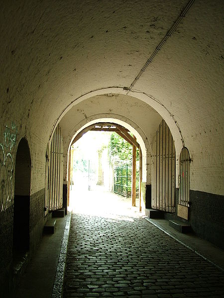 Fortress 2 of Wommelgem is one of the Brialmont Fortresses around Antwerp. Picture of the passageway from the entrance to the inner fortress in the direction of the entrance.