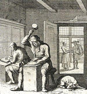 Goldbeating - An engraving showing the goldbeating process
