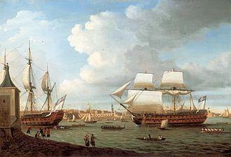Battle of Ushant (1782) - Image: Foudroyant&Pegas Entering Portsmouth Harbour
