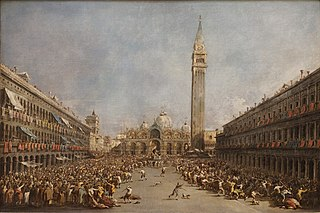 The Doge of Venice Carried by Gondoliers after His Election on Piazza San Marco