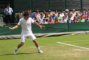 Frank Dancevic - Dancevic hitting a groundstroke at Wimbledon 2008.