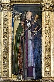 Frari (Venice) - Sacristy - triptych by Giovanni Bellini - Saint Nicholas, Saint Peter.jpg