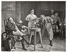 Georg von Reichenbach (rechts) neben Joseph von Fraunhofer (Mitte, das Spektroskop demonstrierend), Gemälde von Rudolf Wimmer (Quelle: Wikimedia)