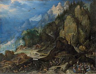 Frederik van Valckenborch - Mountain landscape with two watermills