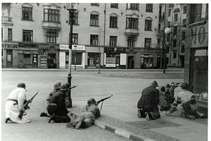 Freedom fighters at Strandboulevarden in Copenhagen. 5th May 1945 (9443121280).jpg