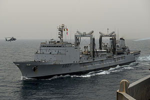 French replenishment oiler Meuse (A607) in the Arabian Sea in April 2015.JPG