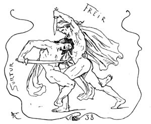 Surtr - The battle between Surtr and Freyr at Ragnarök, illustration (1895) by Lorenz Frølich