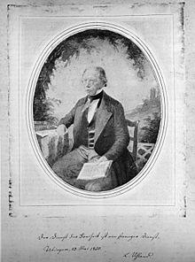 Ludwig Uhland fotografiert in Frankfurt am Main, Kalotypie von Fritz und Julie Vogel, 1846 (Quelle: Wikimedia)