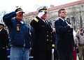 From left, Frank Yanick, a Pearl Harbor survivor; U.S. Navy Rear Adm. Patrick J. Lorge, the commandant of Naval District Washington; and Paul Stillwell, a retired Navy Reserve commander, salute during 121207-N-KV696-075.jpg