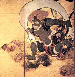 Fūjin - The Japanese wind god Fūjin, Sōtatsu, 17th century.