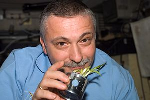 Fyodor Yurchikhin - Fyodor Yurchikhin holds a garlic planter in the Zvezda module of the ISS.