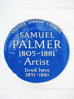 Glc blue plaque   samuel palmer 1805 1881 artist lived here 1851 1861
