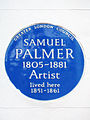 GLC Blue Plaque - SAMUEL PALMER 1805-1881 Artist lived here 1851-1861.jpg