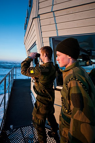 Norway–Russia border - Conscripts from Norway's Garrison of Sør-Varanger patrol the border from a border outpost