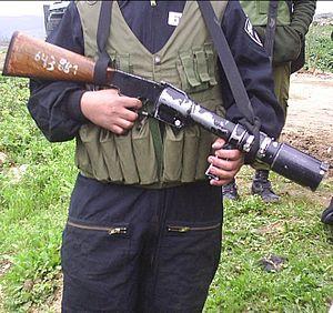 Riot gun - Israeli Border Guard with a Federal M201-Z riot gas gun
