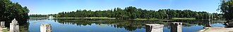Gatchina - Panorama of the view from the piers at Gatchina Palace Park.