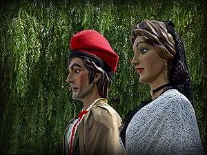 Puig-reig - Marti i Carme Giants of Puig-reig in Plaça Nova in Puig-reig