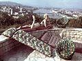 Gellérthegy, háttérben a Budai Vár és a Lánchíd. A Palma Gumigyár reklámfotója. Fortepan 17476.jpg