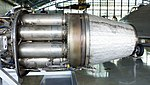 General Electric J47-GE-27 turbojet engine combustor section & exhaust nozzle left side view at Hamamatsu Air Base Publication Center November 24, 2014.jpg