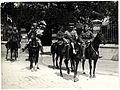 General Sir James Willcocks and his personal staff & escort, leaving his headquarters on horseback (Merville, France). Photographer- H. D. Girdwood. (13874631093).jpg