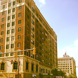 The Genesis Towers (originally the Hotel Gary) and Gary State Bank Building in downtown Gary