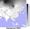Geographic distributions of Y chromosome haplogroups N in East Asia.png