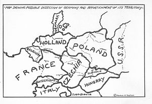 Germany Must Perish! - Map showing Kaufman's proposed dismemberment of Germany (and Austria)