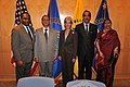 Ghulam Nabi Azad and the Minister of State (Independent Charge) for Women and Child Development, Smt. Krishna Tirath with the Secretary, U.S. Health and Human Services, Ms. Kathleen Sebelius (1).jpg