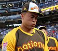 Giancarlo Stanton takes a breather during the T-Mobile Home Run Derby. (28470210452).jpg