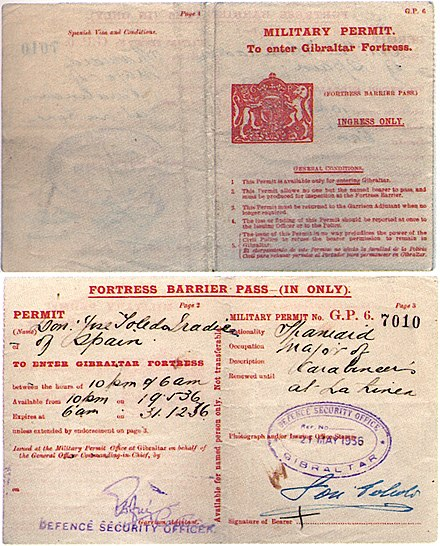 Special passes were required to enter Gibraltar proper at night, whilst the Spanish civil war was raging 1936. Gibraltar-DayPassMulti 1936.jpg