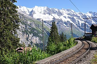 Lauterbrunnen–Mürren Mountain Railway connected railway, cable way and (former) funicular in the Bernese Oberland region of Switzerland