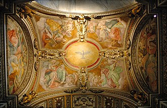 Cerasi Chapel - The frescos of Giovanni Battista Ricci in the anteroom: the Holy Spirit and the Evangelists.