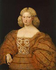 Bildnis einer Frau in gestreiftem Kleid mit Fächer