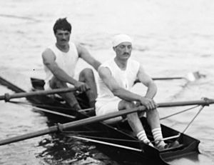 Alfred Plé - Giran and Plé (right) at the 1920 European Championships