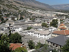 Gjirokaster, view from street to castle 1