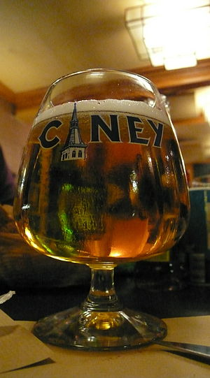 Ciney beer in a branded beer glass.