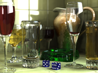 POV-Ray - Glass scene rendered in POV-Ray, demonstrating radiosity, photon mapping, focal blur, and other photorealistic capabilities (created by Gilles Tran)