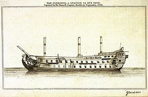 Voyage of the Glorioso - British engraving representing the Glorioso.
